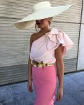 all pink wedding guest outfit
