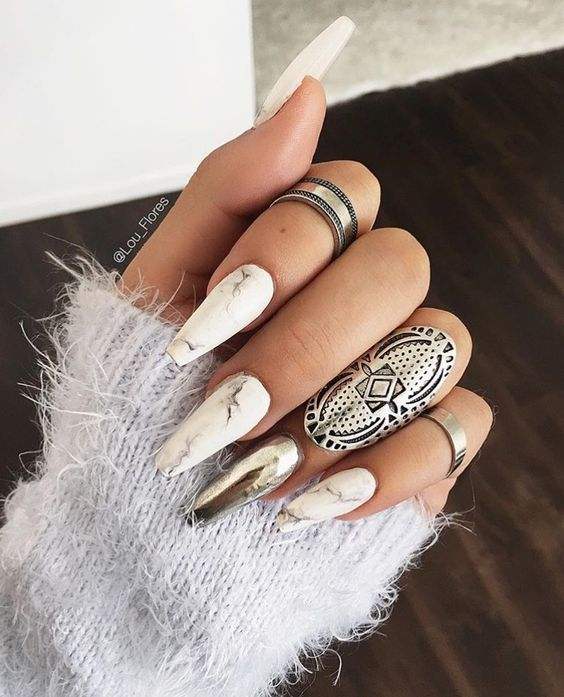 25 Shiny Chrome Nails | Mirror nail Designs - Part 14