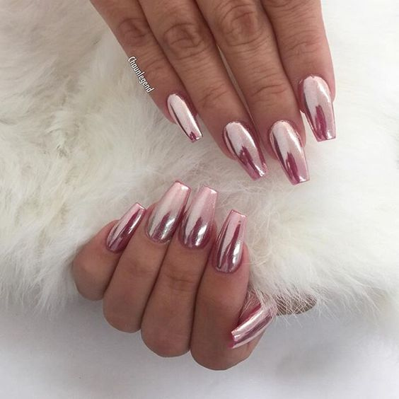 This Is Such A Simple Yet Stunning Nail Art Design The Pink Chrome Manicure Looks Amazing With Long Coffin Shape You Could Easily Make