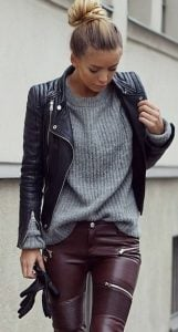 leather jacket outfit black leather on leather