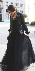 leather jacket outfit black maxi