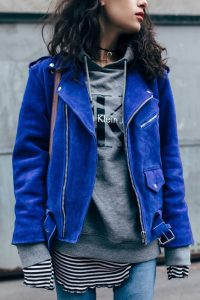 leather jacket outfit blue