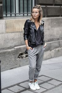 leather jacket outfit casual