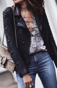leather jacket outfit haute couture