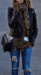 leather jacket outfit leopard
