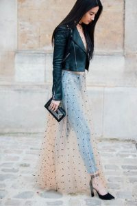 leather jacket outfit mesh polka