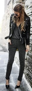 leather jacket outfit metallic jumpsuit
