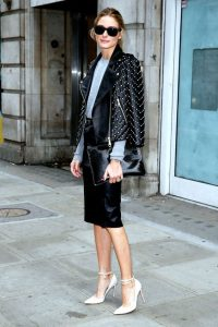 leather jacket outfit pearls