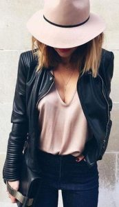 leather jacket outfit pink