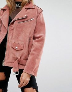 leather jacket outfit pink suede