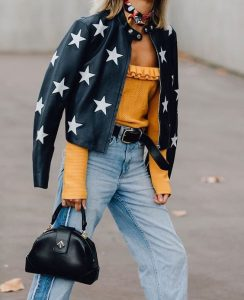 leather jacket outfit stars