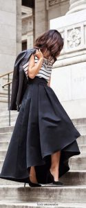 leather jacket outfit striped midi