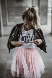 leather jacket outfit tulle