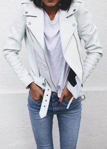 leather jacket outfit white