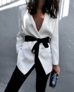 black and white blazer outfit