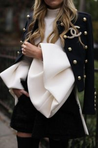 puffy sleeve blazer outfit
