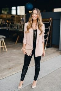 leather pants blazer outfit