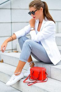pop of red blazer outfit