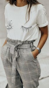 plaid pants outfit for spring