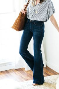 Button Down And Flared Jeans