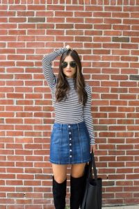 Long Sleeve And Denim Skirt