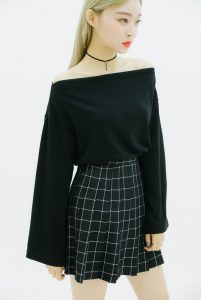 Off Shoulder And Skater Skirt