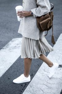 Oversized Sweater and Pleated Skirt