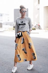 Statement Tee And Vibrant Skirt