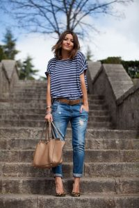 Striped Tee And Cuff Jeans