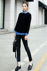 Sweater And Collared Top
