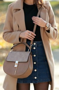 Trench Coat And High-waisted Denim Skirt