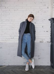 Turtleneck And High-waisted Jeans