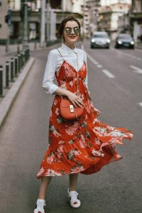 White Button Down and Floral Dress