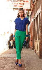 Blue V-neck top and Green Pants