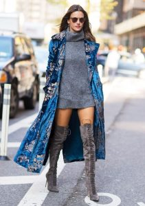 Blue Velvet Coat And Lace-Up Boots