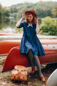 Blue Vintage Dress And Grey Leggings