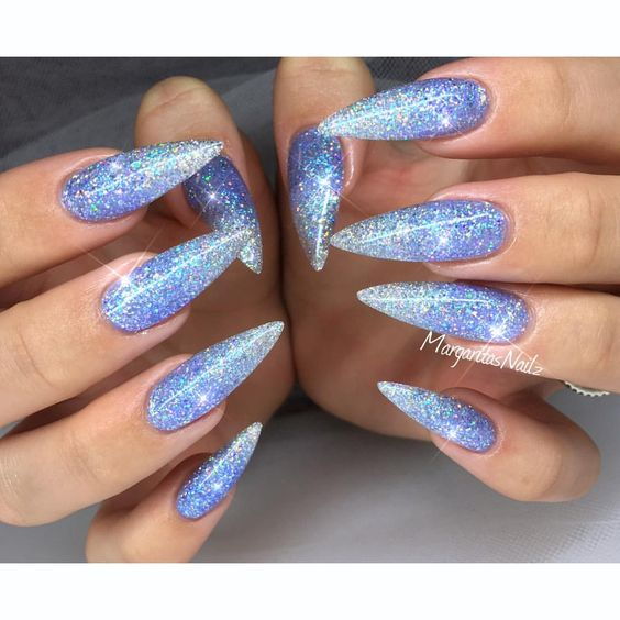 19blue Glitter Ombre Pointy Stiletto Nails