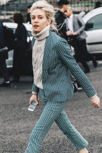 Cable knit turtleneck, Green checkered blazer and Green trousers
