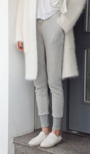 Comfy White Coat And Grey Leggings