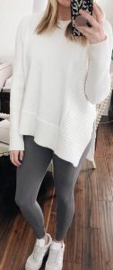 Cozy and Chic Sweater And Grey Leggings