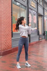 Cropped Workout Jacket And Grey Leggings
