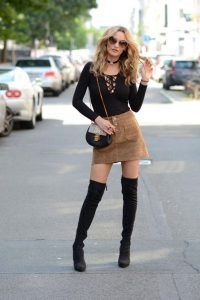 Faux Suede Skirt And Black Boots