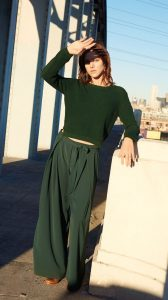 Forest-green sweater and Olive green flowy pants