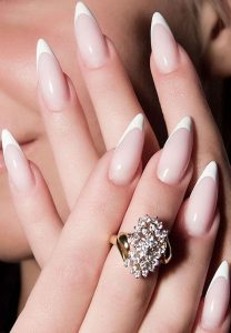 French Manicure Pointy Stiletto Nails