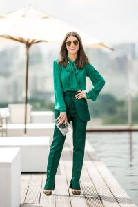 Glitter green pants and Green bow blouse