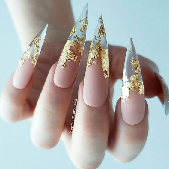 31Gold Foil Pointy Stiletto Nails