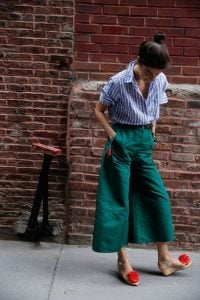 Green culottes with a Striped linen button down shirt