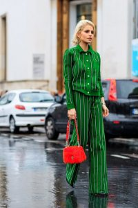 Green striped buttoned shirt and pants