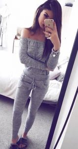 Grey Off Shoulder Top And Grey Leggings