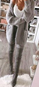 Grey Boots And Grey Leggings